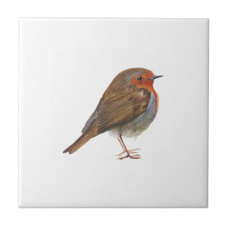 Robin Red Breast Bird Watercolor Painting Artwork Small Square Tile
