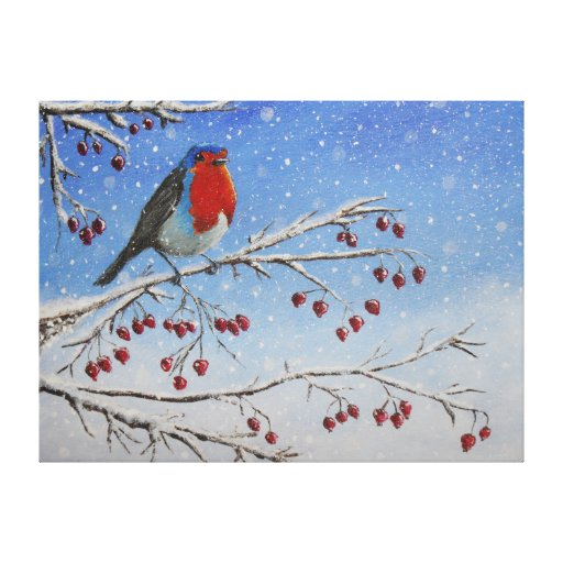 Robin Red Breast In The Snow Canvas Print