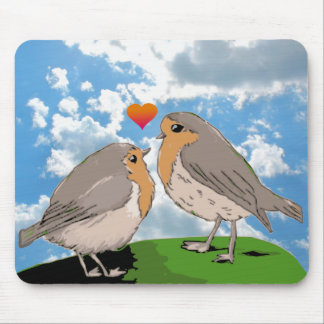 Robin redbreast bird love mouse pad