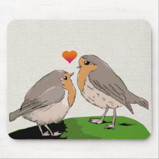 Robin redbreast bird love mouse pad