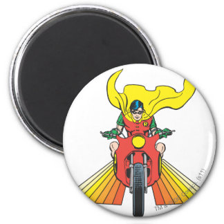 Robin Rides 2 2 6 Cm Round Magnet