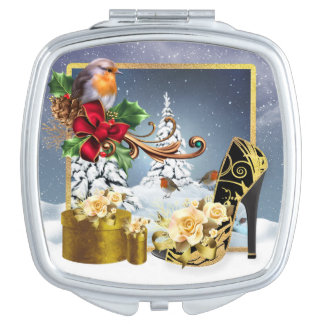 Robin & Shoe Stylish Holiday Square Compact Mirror
