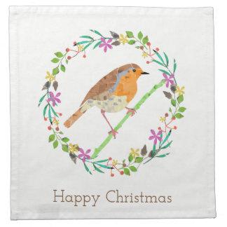 Robin the bird of Christmas Napkin