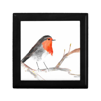 Robin watercolour painting Christmas art Gift Box