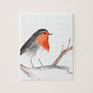 Robin watercolour painting Christmas art Jigsaw Puzzle