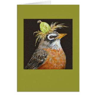robin with gooseberry card