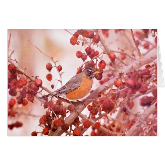 Robin With Red Berries Note Cards