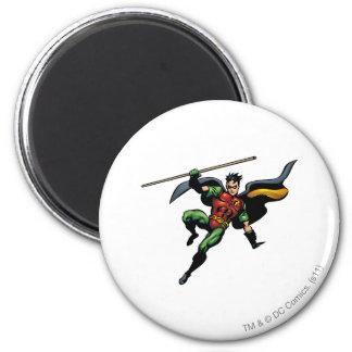 Robin with Staff 6 Cm Round Magnet