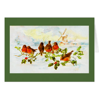 Robins and holly greeting card