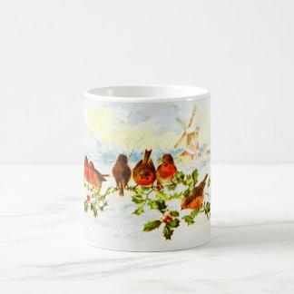 Robins and holly coffee mug
