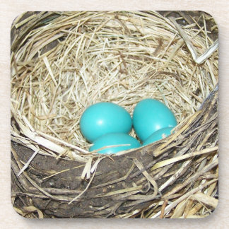 Robin's Blue Eggs in Nest Photo Cork Coaster
