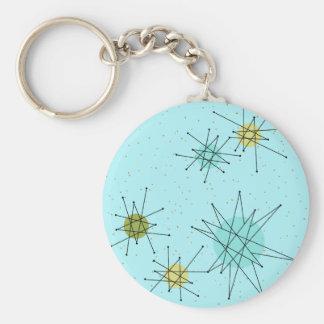 Robin's Egg Blue Atomic Starbursts Button Keychain