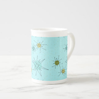 Robin's Egg Blue Atomic Starbursts China Mug