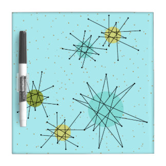 Robin's Egg Blue Atomic Starbursts Dry Erase Board