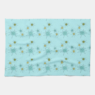 Robin's Egg Blue Atomic Starbursts Kitchen Towels