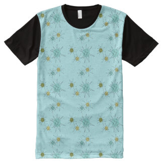 Robin's Egg Blue Atomic Starbursts Panel T-Shirt