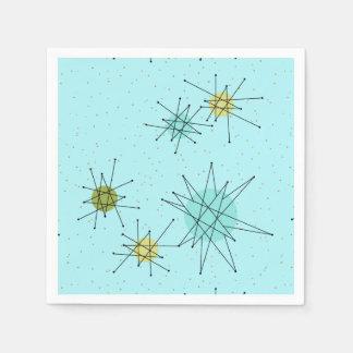 Robin's Egg Blue Atomic Starbursts Paper Napkins
