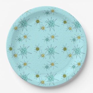 Robin's Egg Blue Atomic Starbursts Paper Plate