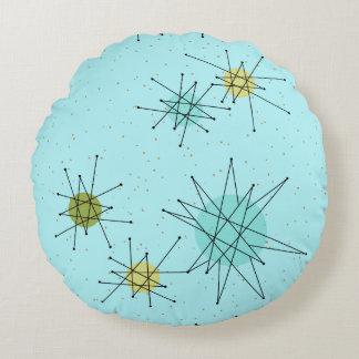 Robin's Egg Blue Atomic Starbursts Round Pillow