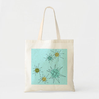 Robin's Egg Blue Atomic Starbursts Tote Bag