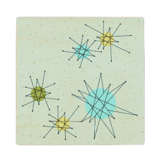 Robin's Egg Blue Atomic Starbursts Wood Coaster