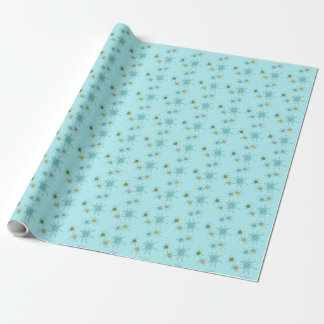 Robin's Egg Blue Atomic Starbursts Wrapping Paper