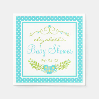 Robins Egg Blue Baby Shower- Floral Disposable Napkins