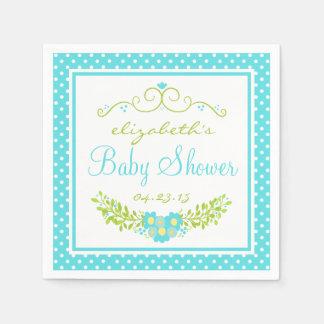Robins Egg Blue Baby Shower- Floral Disposable Serviette