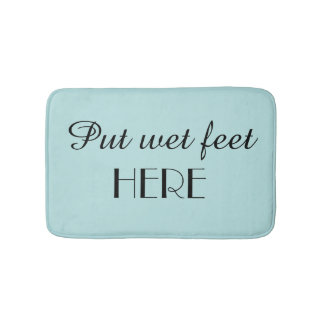 Robins Egg Blue & Black Funny Plush Bath Mat Bath Mats