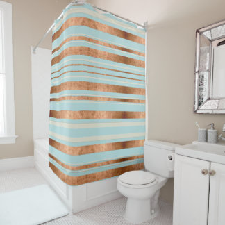 Robins Egg Blue Copper Striped Shower Curtain