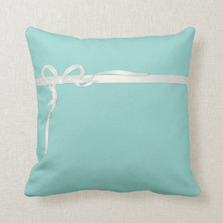 Robin's Egg Blue Jewelry Box with White Ribbon Throw Cushion