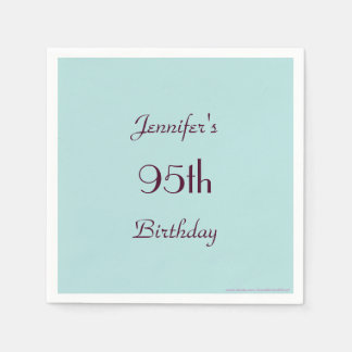 Robins Egg Blue Paper Napkins, 95th Birthday Party Disposable Serviette