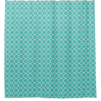 Robins Egg Blue Quatrefoil Pattern Shower Curtain