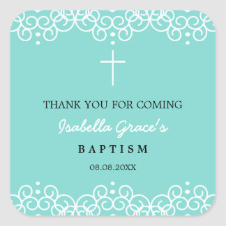Robin's Egg Blue & White | Baptism Thank You Square Sticker