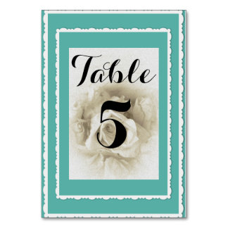 Robin's Egg Blue White Rose Table Card