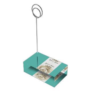 Robin's Egg Blue White Rose Table Card Holder