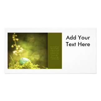 Robin's Egg on Moss with Inspirational Saying Personalized Photo Card