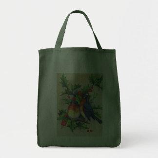 Robins & Holly Christmas Bag