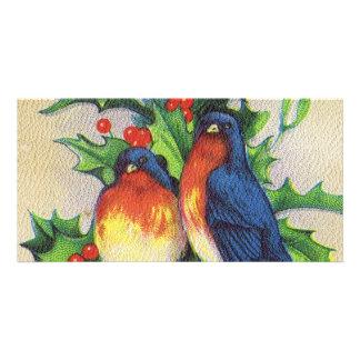 Robins Holly Christmas Customized Photo Card