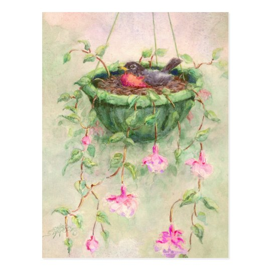 ROBIN'S NEST by SHARON SHARPE Postcard