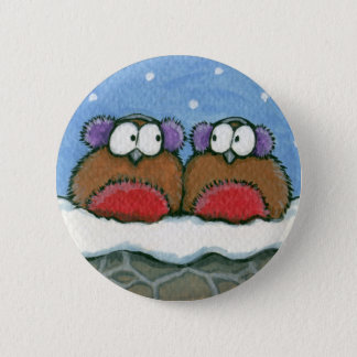 Robins Wearing Earmuffs - Festive Robin Art Button