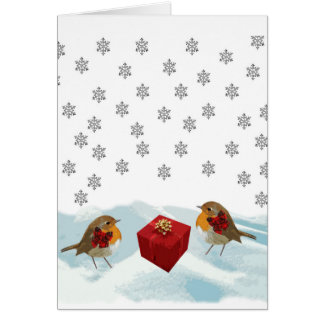 Robins with Gift and Christmas Tartan Bow in Snow Greeting Card