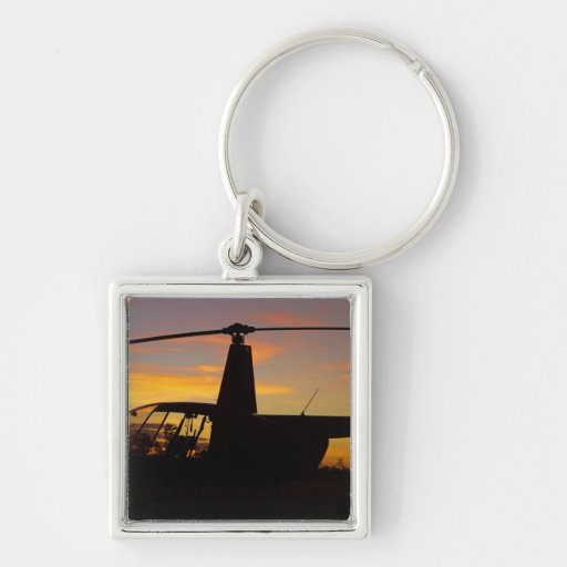 Robinson R44 helicopter at sunset Key Chains