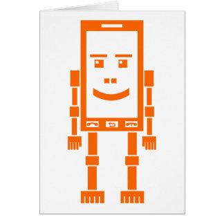 Robo-phone - Orange Greeting Card