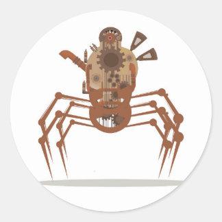 robo steampunk classic round sticker