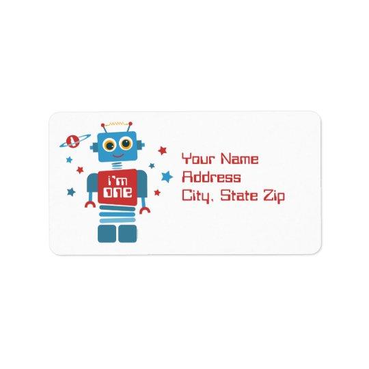Robot 1st Birthday Label Address Label
