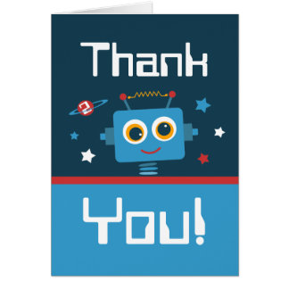 Robot 2nd Birthday Thank You Notes Note Card
