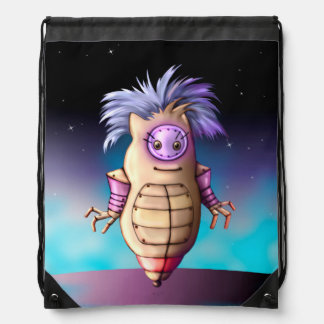 ROBOT 3 ALIEN CARTOON Drawstring Backpack