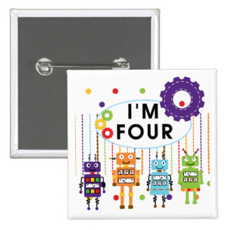 Robot 4th Birthday Tshirts and Gifts 15 Cm Square Badge