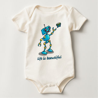 robot and butterfly - life is beautiful baby bodysuit